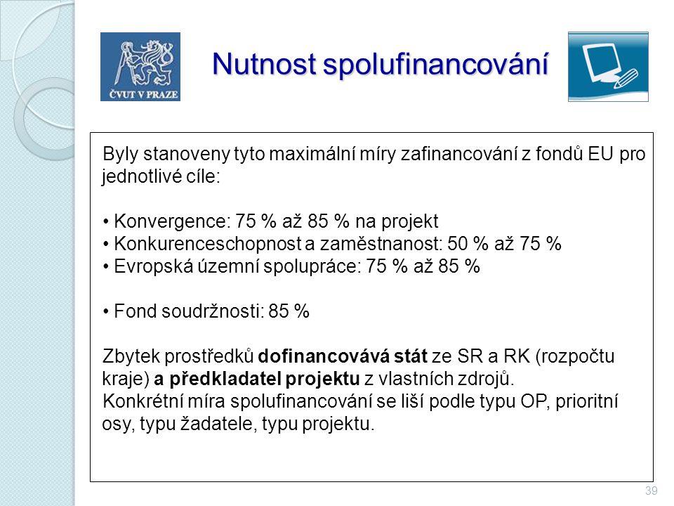 39 Nutnost spolufinancování Nutnost spolufinancování Byly stanoveny tyto maximální míry zafinancování z fondů EU pro jednotlivé cíle: Konvergence: 75