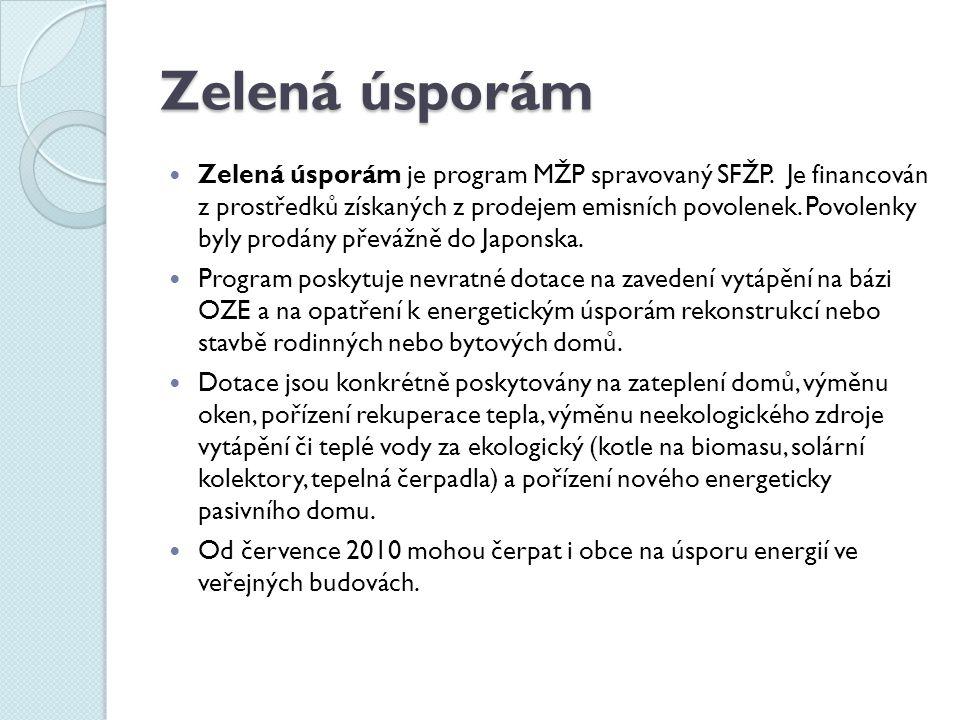 Zelená úsporám Zelená úsporám je program MŽP spravovaný SFŽP. Je financován z prostředků získaných z prodejem emisních povolenek. Povolenky byly prodá