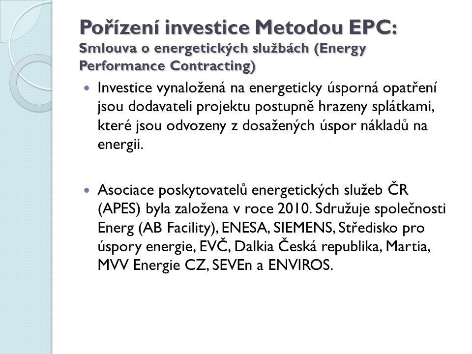 Pořízení investice Metodou EPC: Smlouva o energetických službách (Energy Performance Contracting) Investice vynaložená na energeticky úsporná opatření