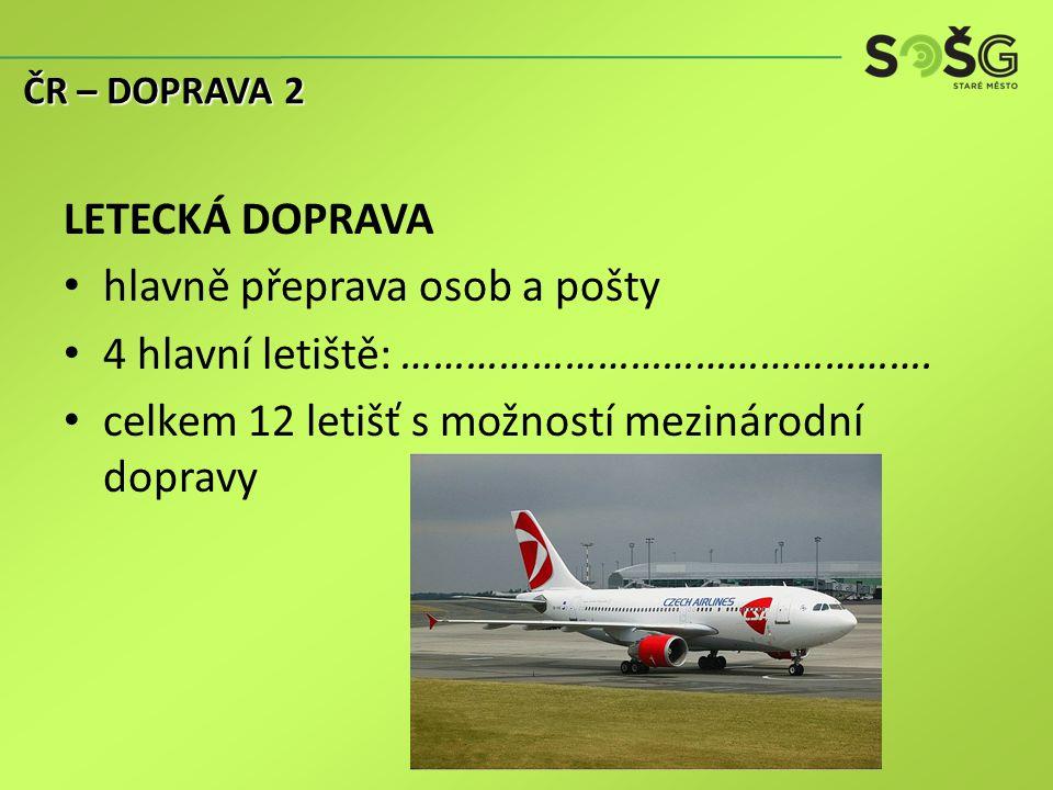 LETECKÁ DOPRAVA hlavně přeprava osob a pošty 4 hlavní letiště: ………………………………………….