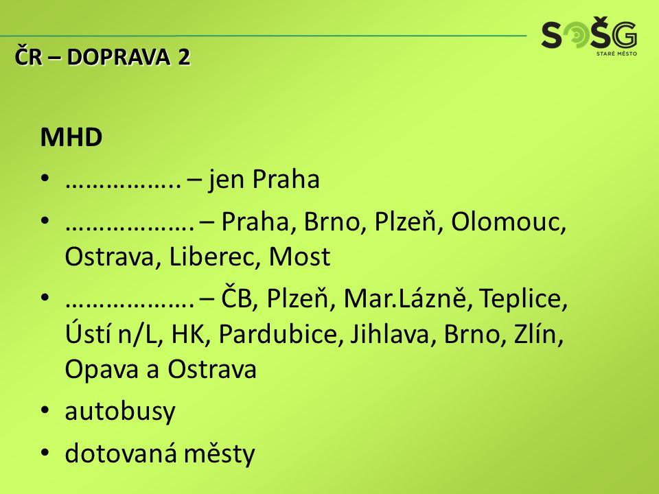 MHD …………….. – jen Praha ………………. – Praha, Brno, Plzeň, Olomouc, Ostrava, Liberec, Most ……………….