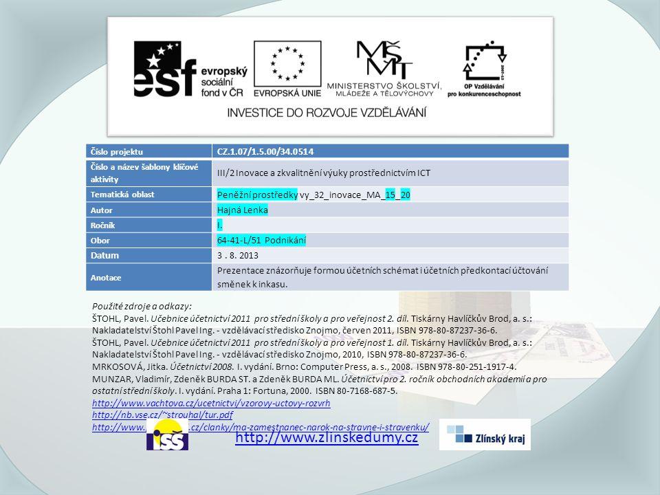 Číslo projektu CZ.1.07/1.5.00/34.0514 Číslo a název šablony klíčové aktivity III/2 Inovace a zkvalitnění výuky prostřednictvím ICT Tematická oblast Peněžní prostředky vy_32_inovace_MA_15_20 Autor Hajná Lenka Ročník I.