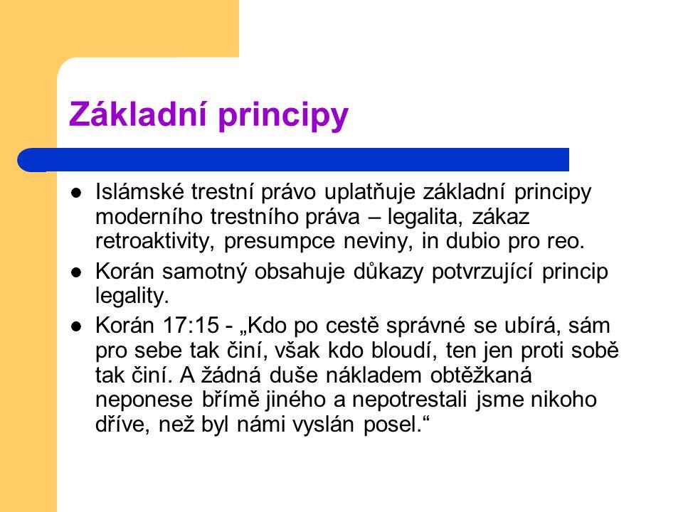 Základní principy Islámské trestní právo uplatňuje základní principy moderního trestního práva – legalita, zákaz retroaktivity, presumpce neviny, in d