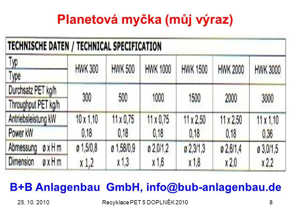 Planetová myčka (můj výraz) 25. 10. 2010Recyklace PET 5 DOPLNĚK 20108 B+B Anlagenbau GmbH, info@bub-anlagenbau.de
