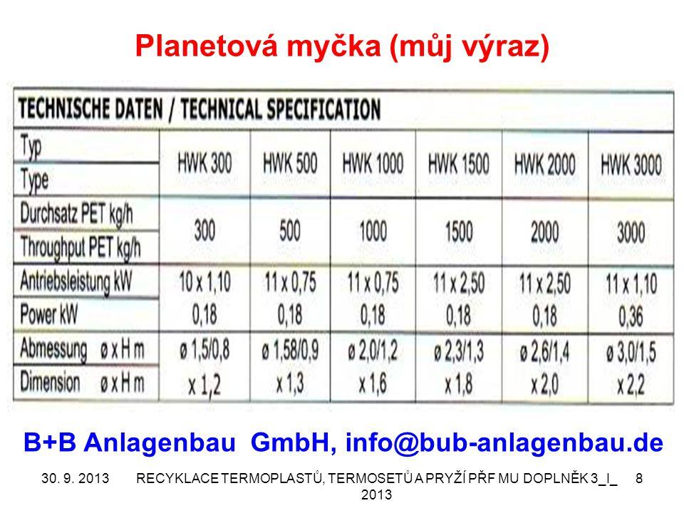 Planetová myčka (můj výraz) 30. 9. 2013RECYKLACE TERMOPLASTŮ, TERMOSETŮ A PRYŽÍ PŘF MU DOPLNĚK 3_I_ 2013 8 B+B Anlagenbau GmbH, info@bub-anlagenbau.de