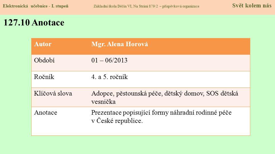 Elektronická učebnice - I. stupeň Základní škola Děčín VI, Na Stráni 879/2 – příspěvková organizace Svět kolem nás 127.10 Anotace AutorMgr. Alena Horo