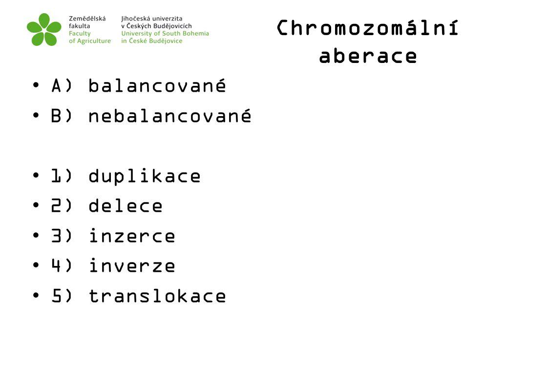 Chromozomální aberace A) balancované B) nebalancované 1) duplikace 2) delece 3) inzerce 4) inverze 5) translokace