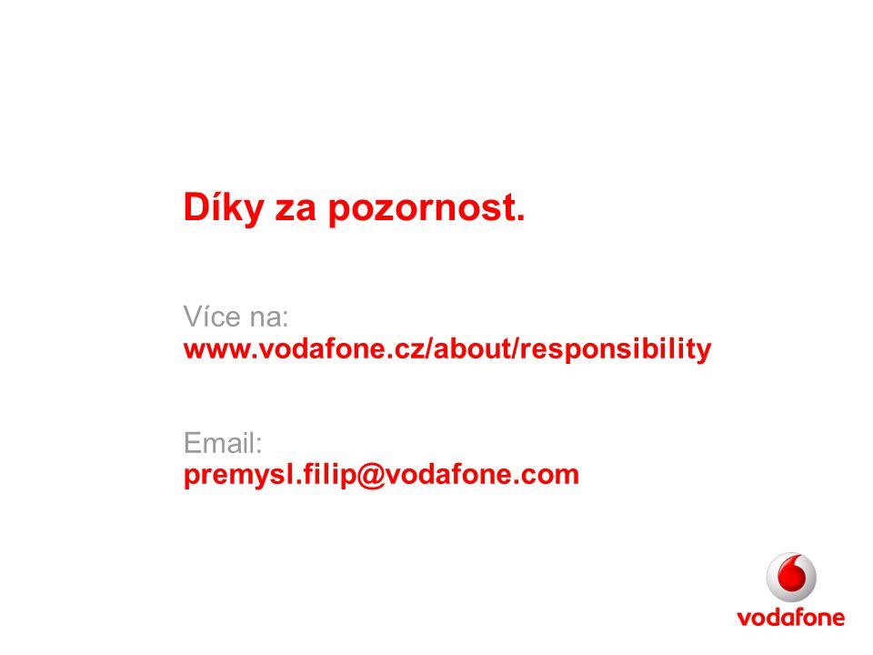 Díky za pozornost. Více na: www.vodafone.cz/about/responsibility Email: premysl.filip@vodafone.com