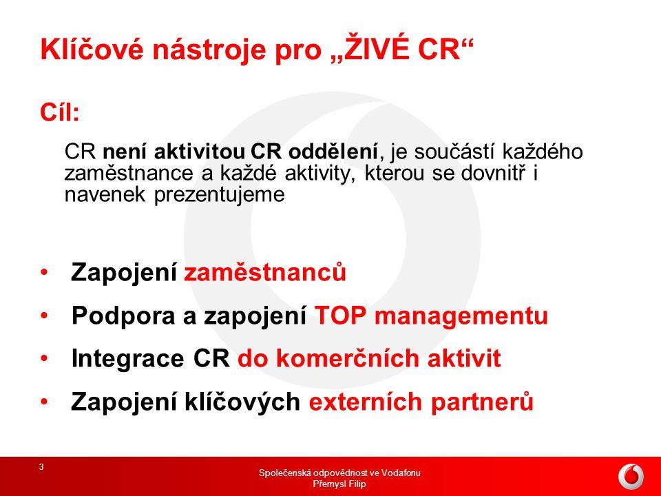 """Společenská odpovědnost ve Vodafonu Přemysl Filip 3 Klíčové nástroje pro """"ŽIVÉ CR"""" Cíl: CR není aktivitou CR oddělení, je součástí každého zaměstnance"""