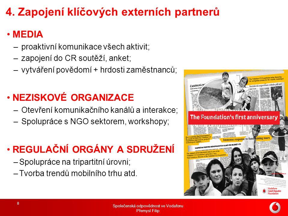 Společenská odpovědnost ve Vodafonu Přemysl Filip 8 4. Zapojení klíčových externích partnerů MEDIA – proaktivní komunikace všech aktivit; – zapojení d