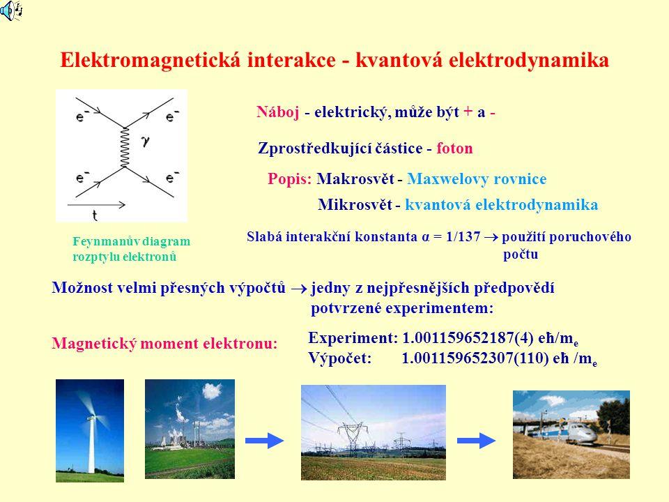 Elektromagnetická interakce - kvantová elektrodynamika Náboj - elektrický, může být + a - Zprostředkující částice - foton Magnetický moment elektronu: