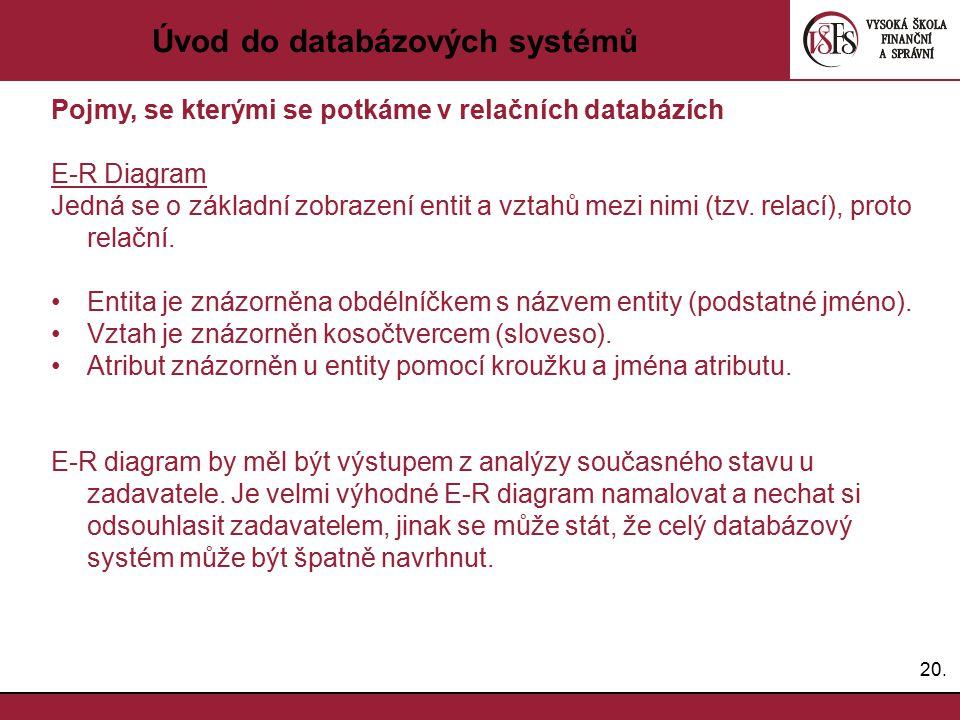 20. Úvod do databázových systémů Pojmy, se kterými se potkáme v relačních databázích E-R Diagram Jedná se o základní zobrazení entit a vztahů mezi nim