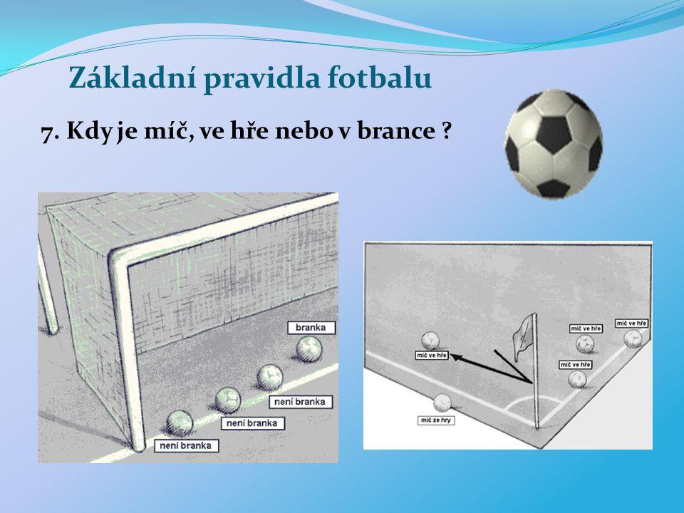 Základní pravidla fotbalu 7. Kdy je míč, ve hře nebo v brance ?