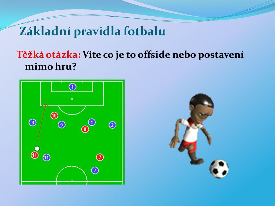 Základní pravidla fotbalu Těžká otázka: Víte co je to offside nebo postavení mimo hru?