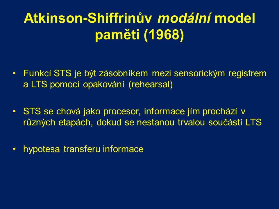 Atkinson-Shiffrinův modální model paměti (1968) Funkcí STS je být zásobníkem mezi sensorickým registrem a LTS pomocí opakování (rehearsal) STS se chov