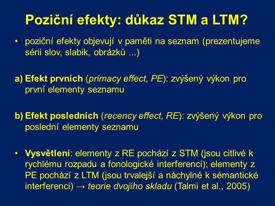 Poziční efekty: důkaz STM a LTM? poziční efekty objevují v paměti na seznam (prezentujeme sérii slov, slabik, obrázků...) a)Efekt prvních (primacy eff
