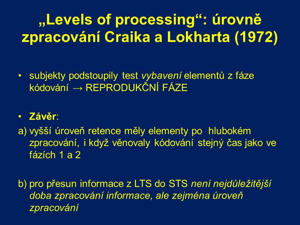 """""""Levels of processing"""": úrovně zpracování Craika a Lokharta (1972) subjekty podstoupily test vybavení elementů z fáze kódování → REPRODUKČNÍ FÁZE Závě"""