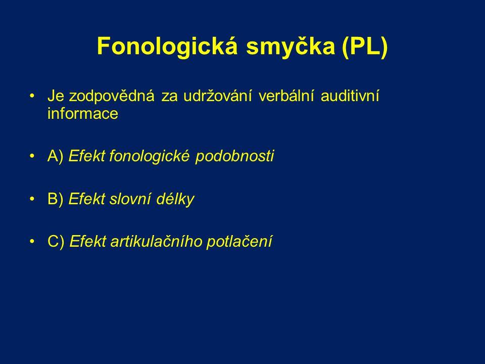 Fonologická smyčka (PL) Je zodpovědná za udržování verbální auditivní informace A) Efekt fonologické podobnosti B) Efekt slovní délky C) Efekt artikul