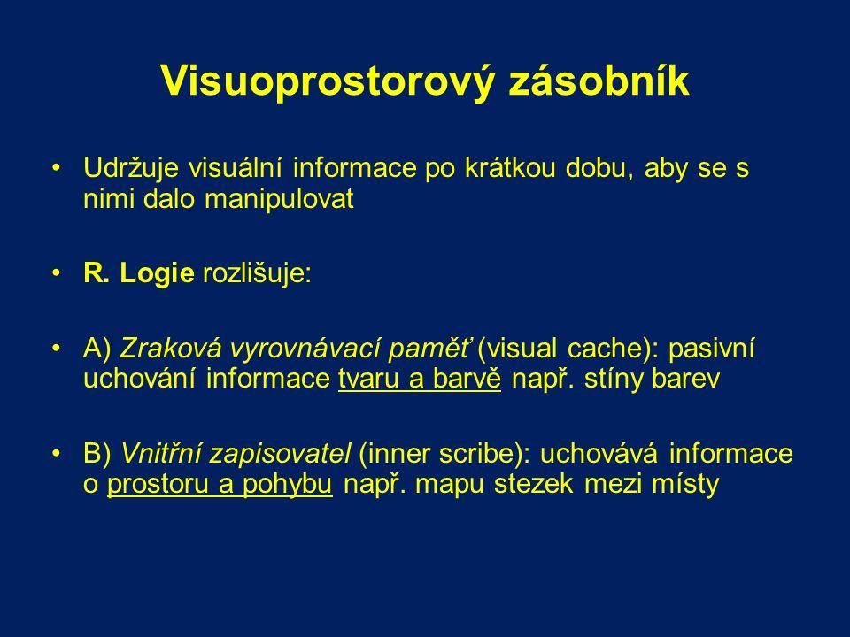 Visuoprostorový zásobník Udržuje visuální informace po krátkou dobu, aby se s nimi dalo manipulovat R. Logie rozlišuje: A) Zraková vyrovnávací paměť (