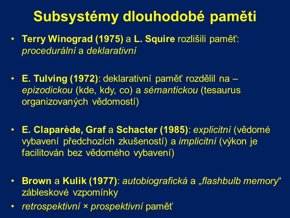 Subsystémy dlouhodobé paměti Terry Winograd (1975) a L. Squire rozlišili paměť: procedurální a deklarativní E. Tulving (1972): deklarativní paměť rozd
