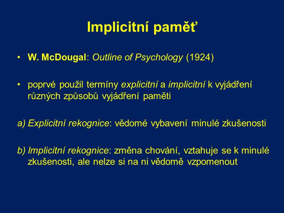 Implicitní paměť W. McDougal: Outline of Psychology (1924) poprvé použil termíny explicitní a implicitní k vyjádření různých způsobů vyjádření paměti