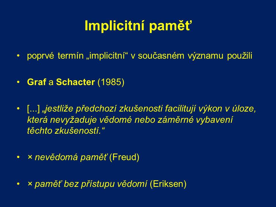 """Implicitní paměť poprvé termín """"implicitní"""" v současném významu použili Graf a Schacter (1985) [...] """"jestliže předchozí zkušenosti facilitují výkon v"""