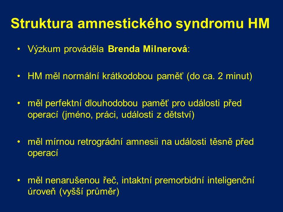 Struktura amnestického syndromu HM Výzkum prováděla Brenda Milnerová: HM měl normální krátkodobou paměť (do ca. 2 minut) měl perfektní dlouhodobou pam