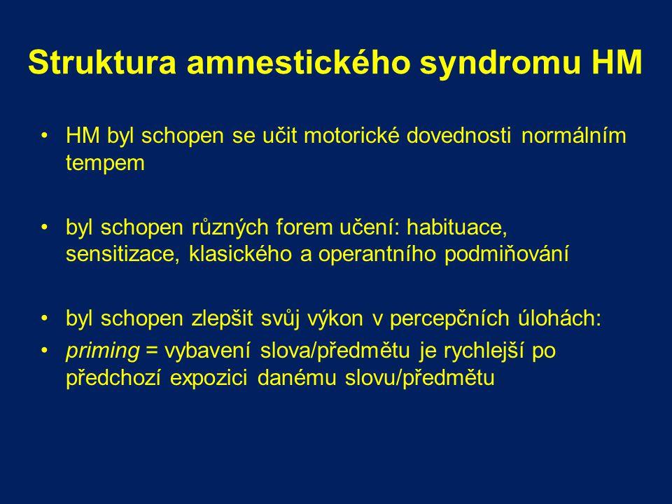 Struktura amnestického syndromu HM HM byl schopen se učit motorické dovednosti normálním tempem byl schopen různých forem učení: habituace, sensitizac