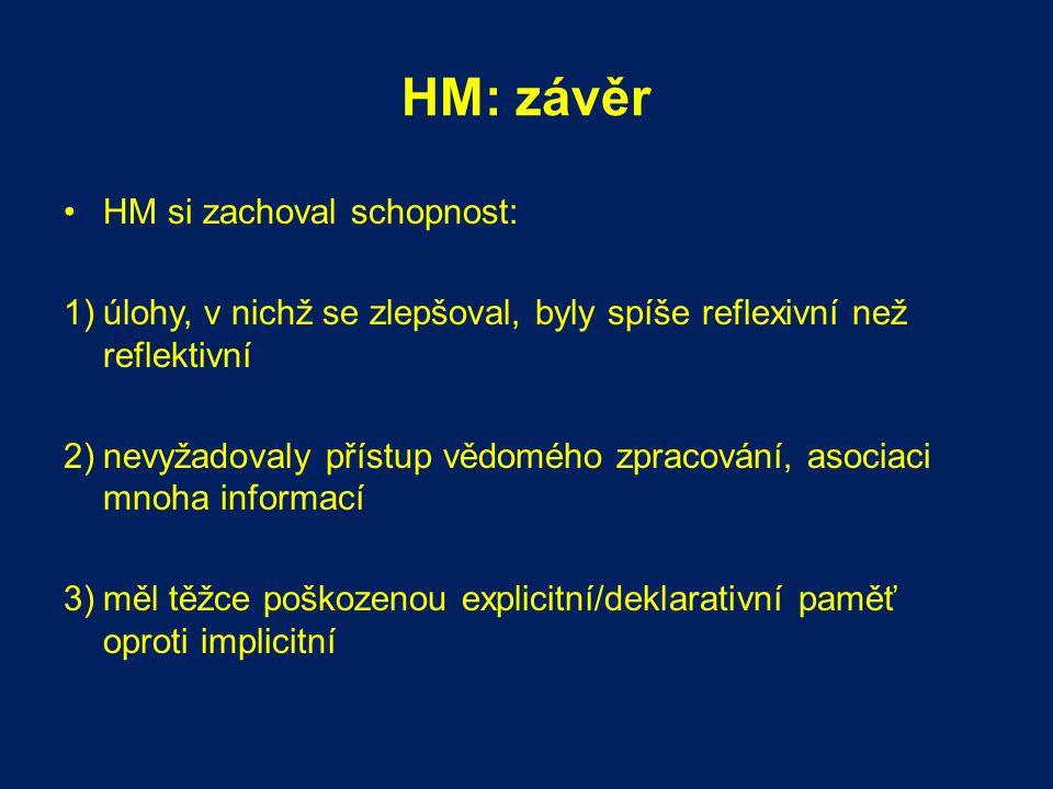 HM: závěr HM si zachoval schopnost: 1)úlohy, v nichž se zlepšoval, byly spíše reflexivní než reflektivní 2)nevyžadovaly přístup vědomého zpracování, a