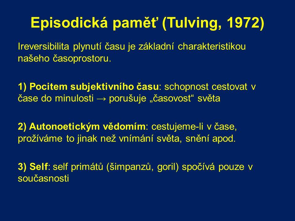 Episodická paměť (Tulving, 1972) Ireversibilita plynutí času je základní charakteristikou našeho časoprostoru. 1) Pocitem subjektivního času: schopnos