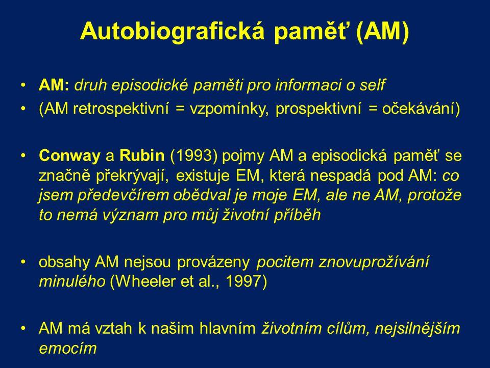 Autobiografická paměť (AM) AM: druh episodické paměti pro informaci o self (AM retrospektivní = vzpomínky, prospektivní = očekávání) Conway a Rubin (1