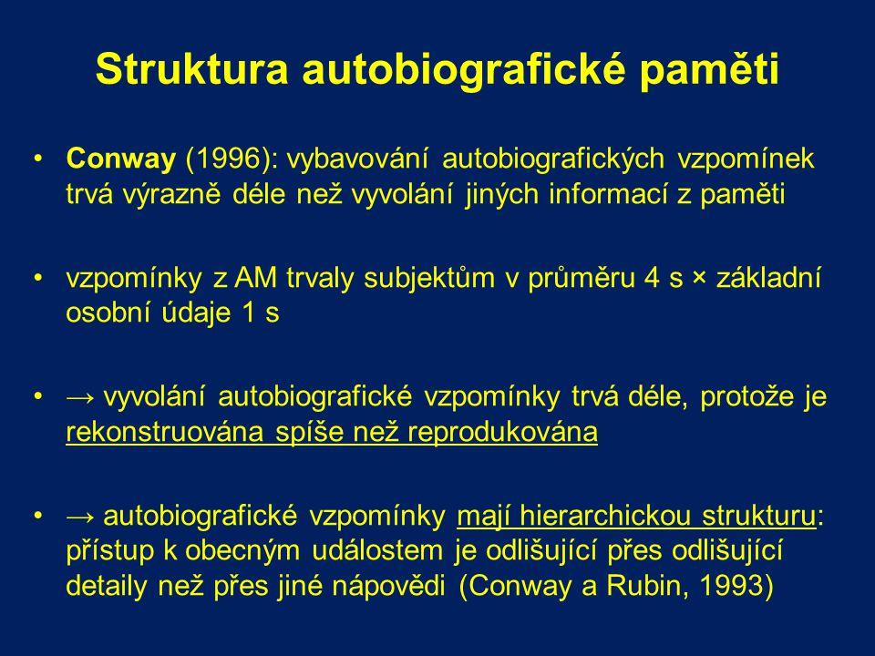 Struktura autobiografické paměti Conway (1996): vybavování autobiografických vzpomínek trvá výrazně déle než vyvolání jiných informací z paměti vzpomí
