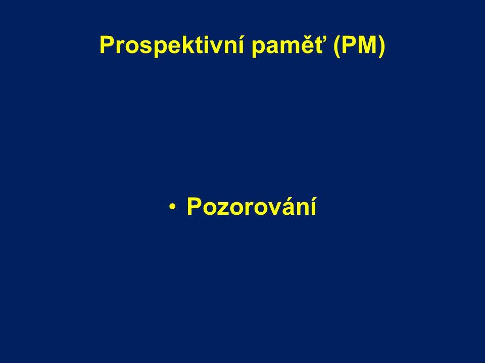 Prospektivní paměť (PM) Pozorování
