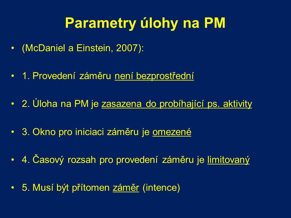 Parametry úlohy na PM (McDaniel a Einstein, 2007): 1. Provedení záměru není bezprostřední 2. Úloha na PM je zasazena do probíhající ps. aktivity 3. Ok
