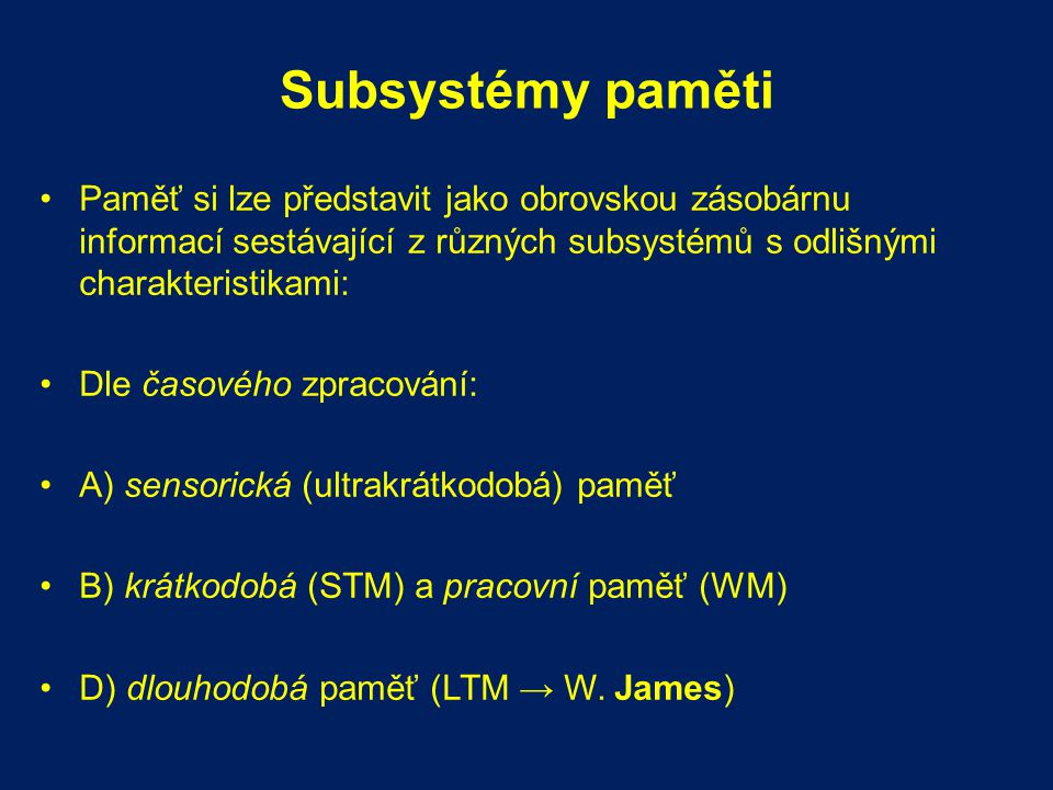Struktura amnestického syndromu HM HM byl schopen se učit motorické dovednosti normálním tempem byl schopen různých forem učení: habituace, sensitizace, klasického a operantního podmiňování byl schopen zlepšit svůj výkon v percepčních úlohách: priming = vybavení slova/předmětu je rychlejší po předchozí expozici danému slovu/předmětu
