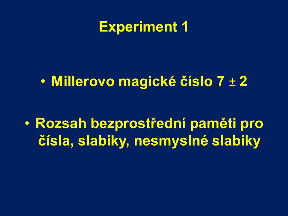 """Millerovo magické číslo 7 ± 2 (1956) A) Rozsah absolutního úsudku (pro jednodimensionální stimuly): kolem 7 elementů, přesnost s jakou jsme schopni identifikovat velikost jednodimensionálního stimulu → měří se v bitech informace, limitovaný množstvím informace B) Rozsah bezprostřední paměti: kolem 7 elementů, limitovaný množstvím """"chunks = štěpy Rekódování: rozsah paměti je omezený, možnosti rekódování velikosti štěpu neomezené → mnemotechniky"""