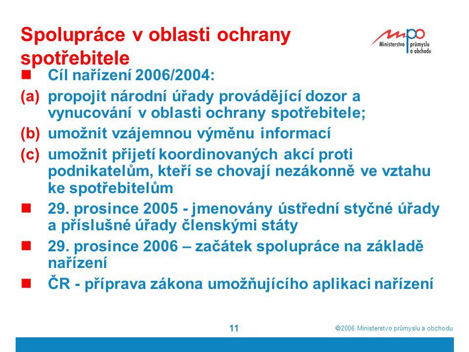  2006  Ministerstvo průmyslu a obchodu 11 Spolupráce v oblasti ochrany spotřebitele Cíl nařízení 2006/2004: (a)propojit národní úřady provádějící d