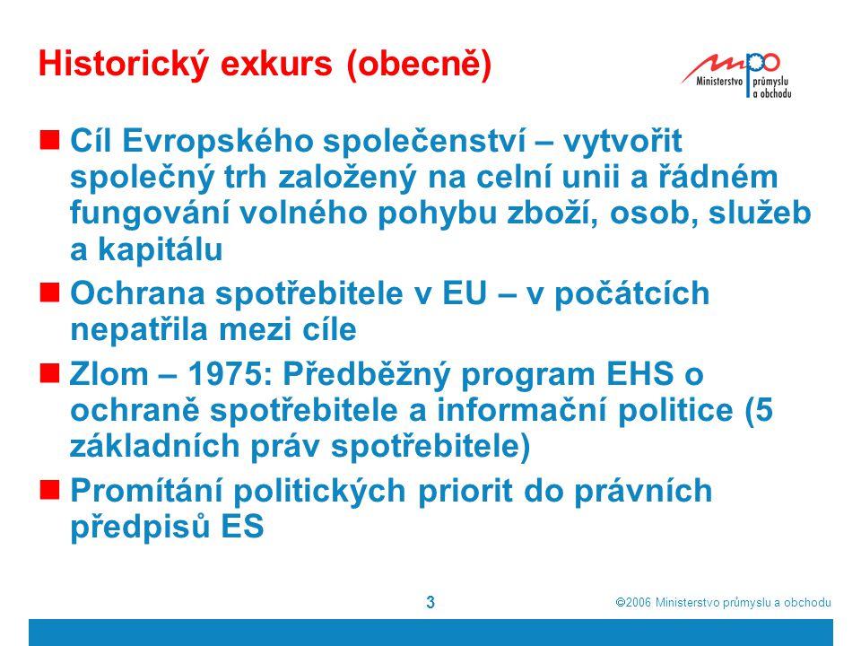  2006  Ministerstvo průmyslu a obchodu 3 Historický exkurs (obecně) Cíl Evropského společenství – vytvořit společný trh založený na celní unii a řá