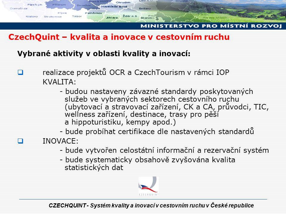CZECHQUINT - Systém kvality a inovací v cestovním ruchu v České republice Vybrané aktivity v oblasti kvality a inovací:  realizace projektů OCR a Cze