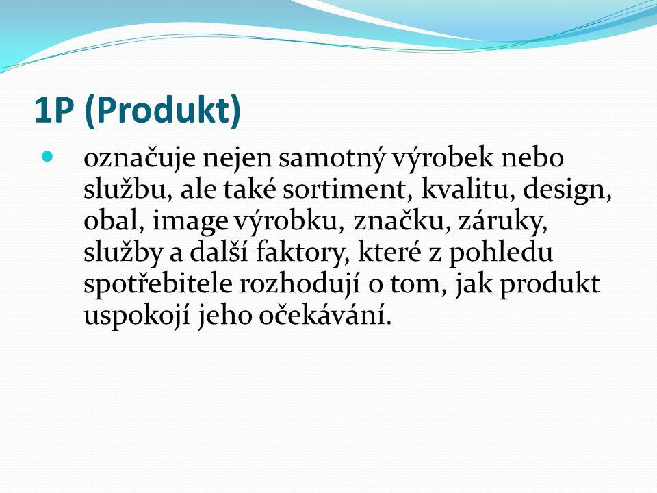1P (Produkt) označuje nejen samotný výrobek nebo službu, ale také sortiment, kvalitu, design, obal, image výrobku, značku, záruky, služby a další faktory, které z pohledu spotřebitele rozhodují o tom, jak produkt uspokojí jeho očekávání.