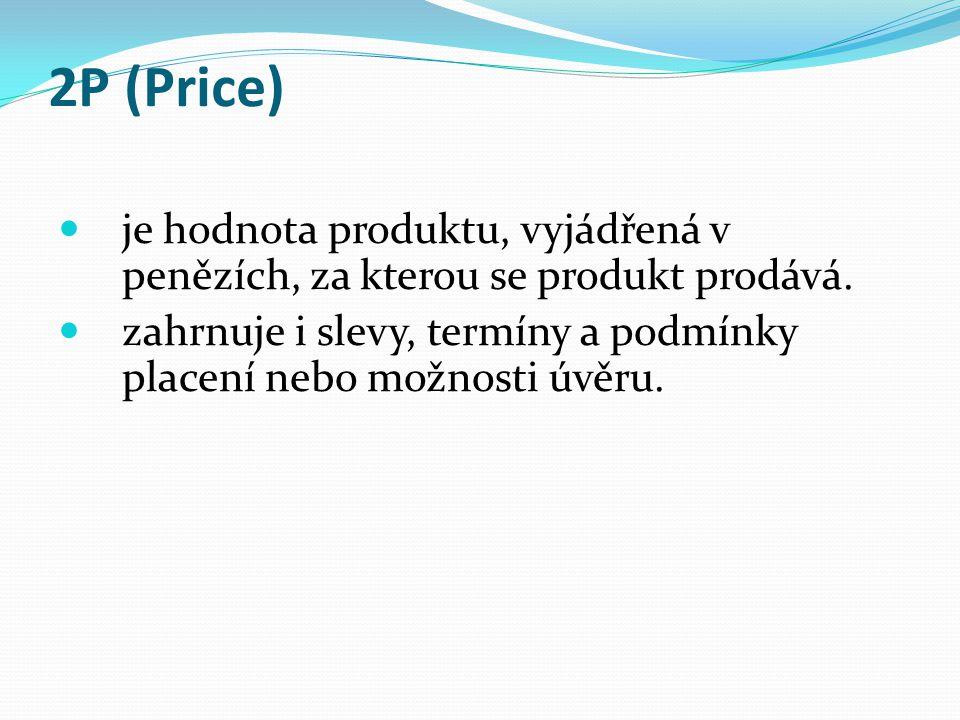 2P (Price) je hodnota produktu, vyjádřená v penězích, za kterou se produkt prodává.