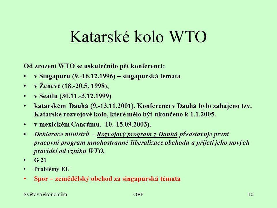 Světová ekonomikaOPF10 Katarské kolo WTO Od zrození WTO se uskutečnilo pět konferencí: v Singapuru (9.-16.12.1996) – singapurská témata v Ženevě (18.-20.5.