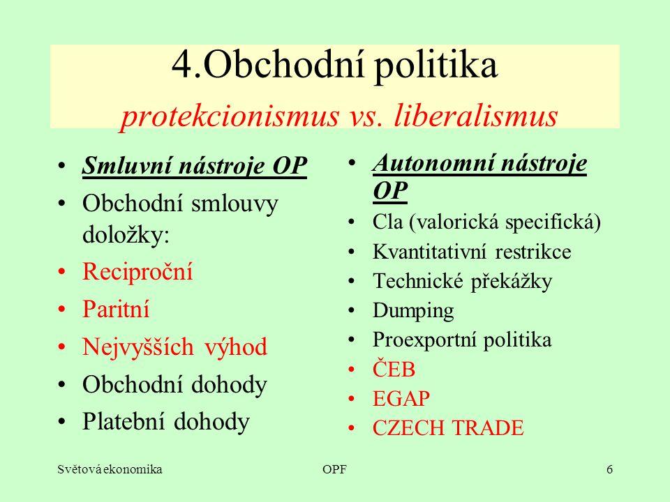Světová ekonomikaOPF6 4.Obchodní politika protekcionismus vs.