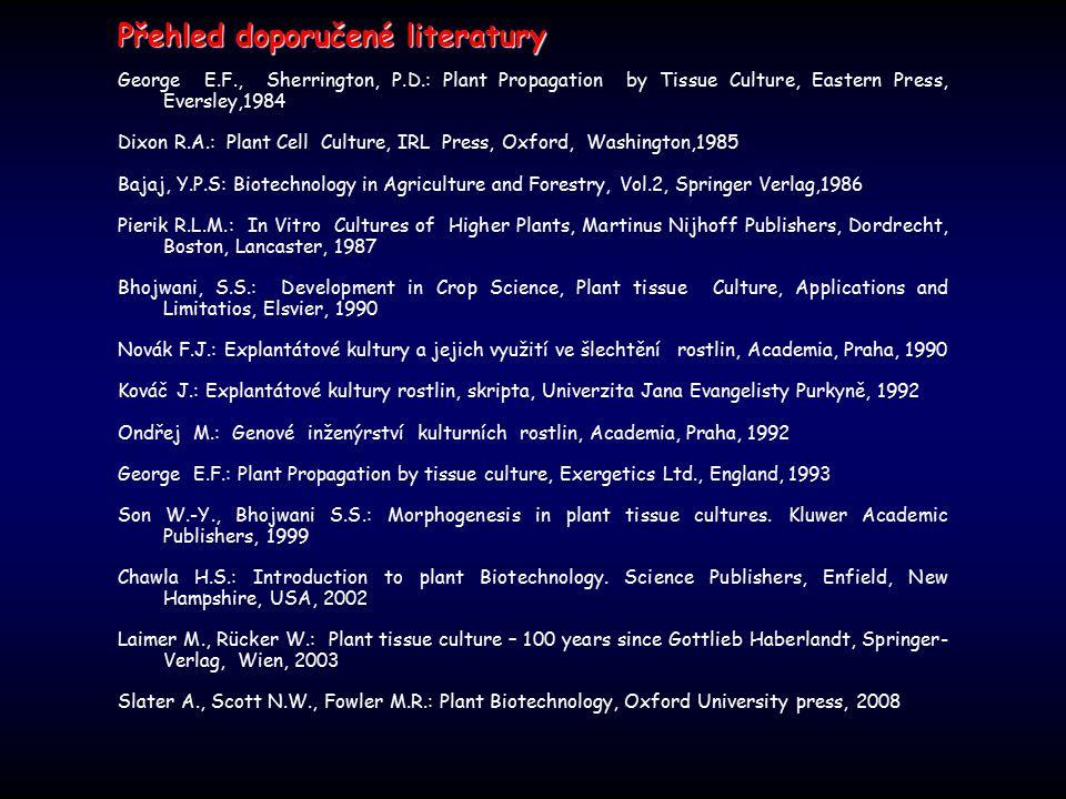 Přehled doporučené literatury Přehled doporučené literatury George E.F., Sherrington, P.D.: Plant Propagation by Tissue Culture, Eastern Press, Eversl