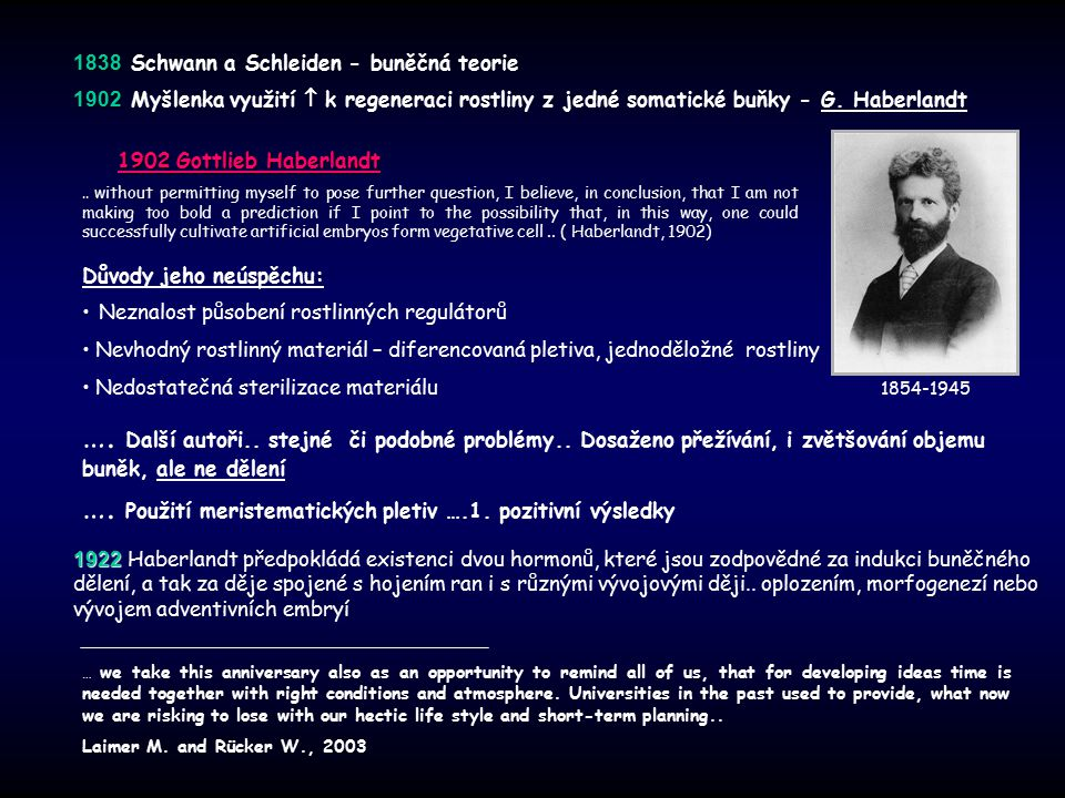 1838 1838 Schwann a Schleiden - buněčná teorie 1902 1902 Myšlenka využití  k regeneraci rostliny z jedné somatické buňky - G. Haberlandt 1902 Gottlie
