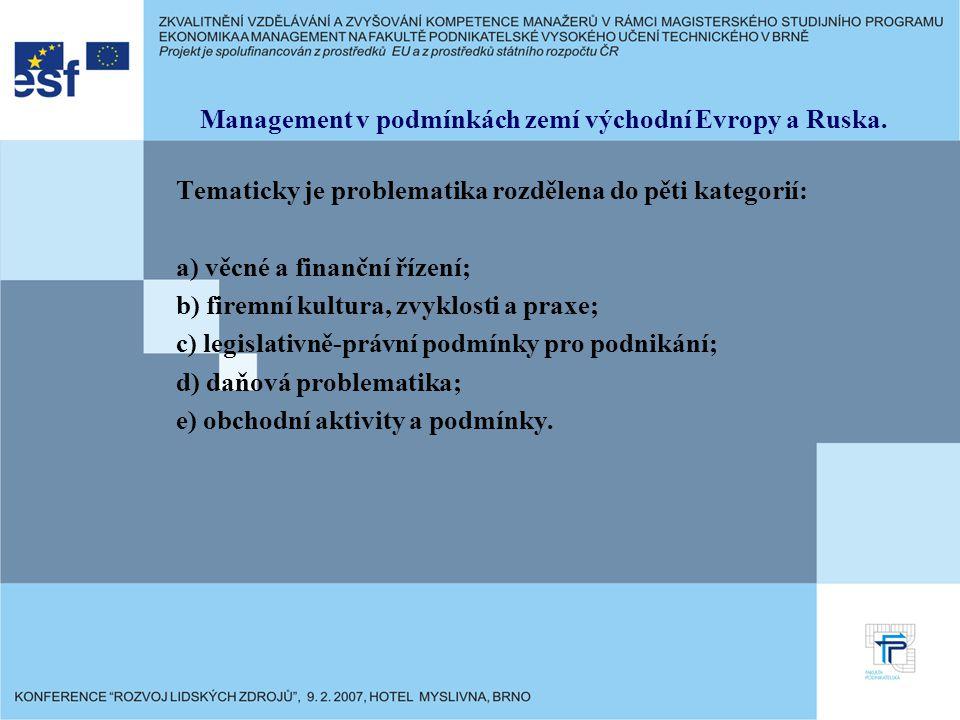 Management v podmínkách zemí východní Evropy a Ruska. Tematicky je problematika rozdělena do pěti kategorií: a) věcné a finanční řízení; b) firemní ku