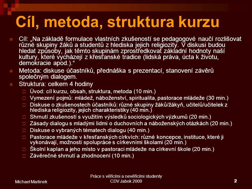 Práce s věřícími a nevěřícími studenty CDV Jabok 200933 Michael Martinek Školní kaplan Kaplanství: pastorační služba duchovních (profesionálů/dobrovolníků, z různých církví) ve specifických zařízeních, většinou necírkevních (armáda, věznice, nemocnice, hospice, domovy důchodců, školy, lodě, zařízení pro migranty, řeholní domy apod.) CIC kán.