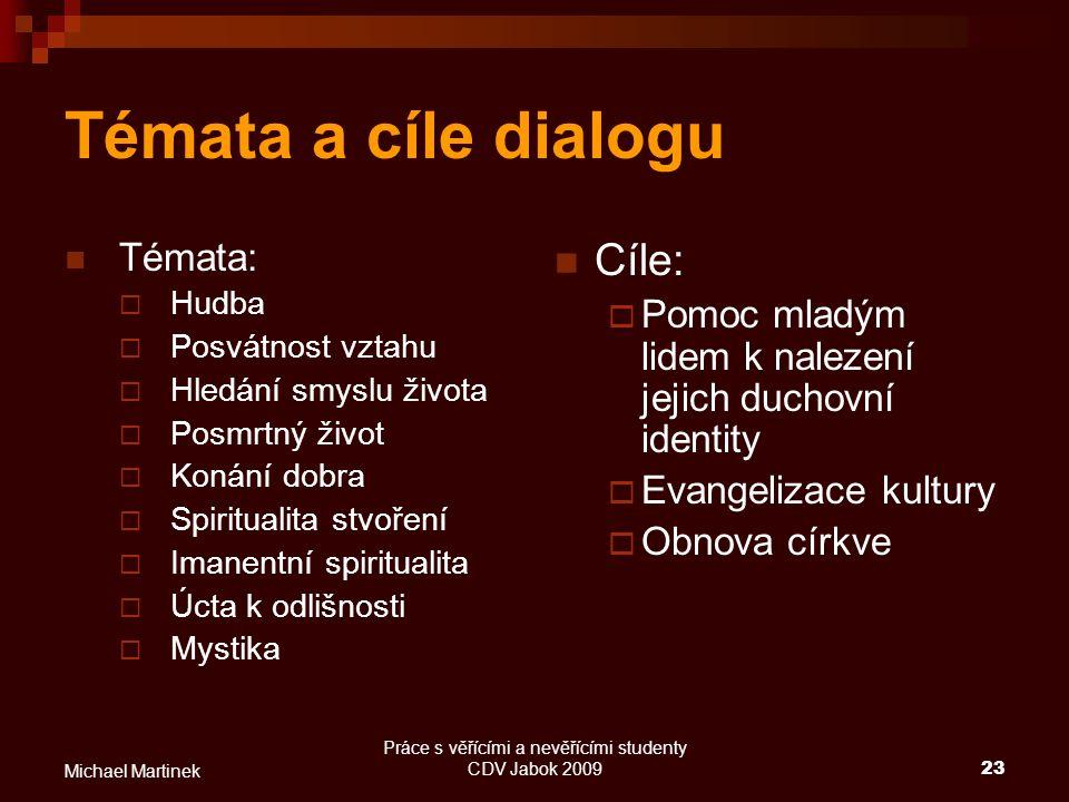 Práce s věřícími a nevěřícími studenty CDV Jabok 200923 Michael Martinek Témata a cíle dialogu Témata:  Hudba  Posvátnost vztahu  Hledání smyslu ži