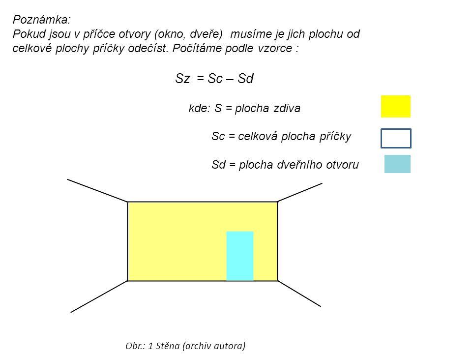 Poznámka: Pokud jsou v příčce otvory (okno, dveře) musíme je jich plochu od celkové plochy příčky odečíst. Počítáme podle vzorce : Sz = Sc – Sd kde: S