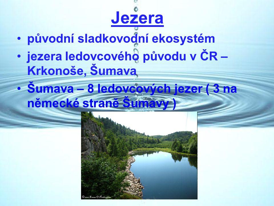 Jezera původní sladkovodní ekosystém jezera ledovcového původu v ČR – Krkonoše, Šumava Šumava – 8 ledovcových jezer ( 3 na německé straně Šumavy )
